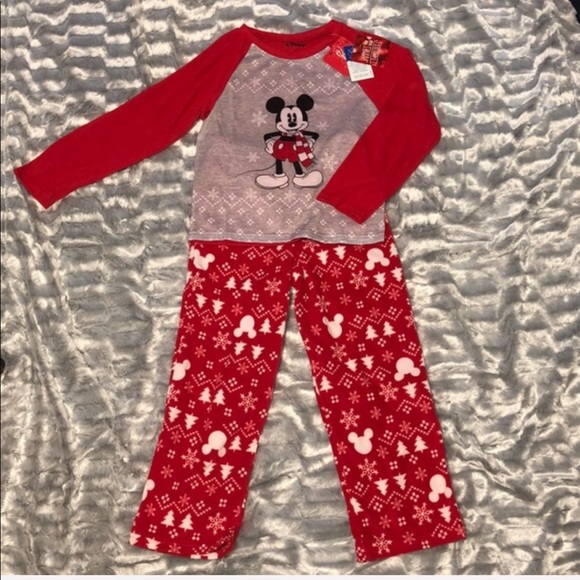 DISNEY//MICKEY MOUSE RED /& WHITE FLEECE SLEEPER-SIZE 18 MONTHS-NWT